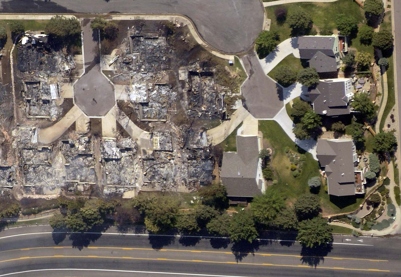 JUNE 28: An aerial view shows homes destroyed by the Waldo Canyon fire in Colorado Springs, Colorado, June 27, 2012. (John Wark/Reuters)