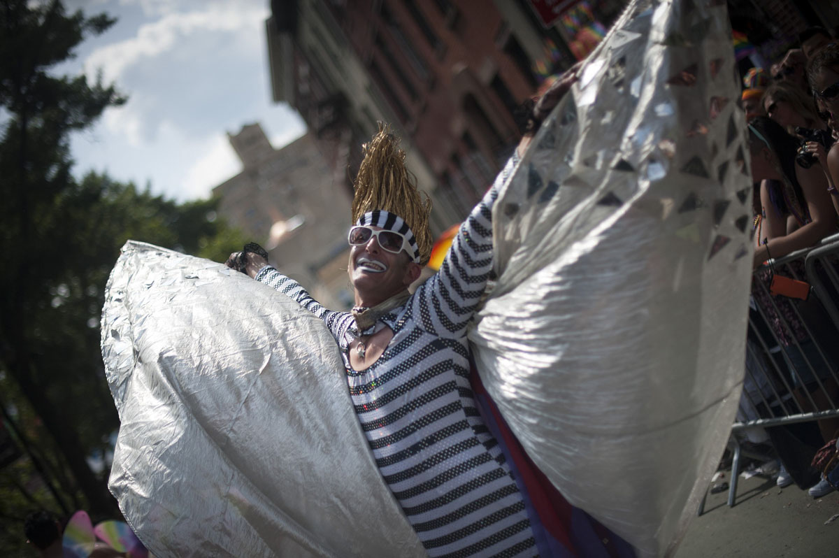 New York: A marcher participates in the Gay Pride Parade on June 24, 2012. (Keith Bedford/Reuters)