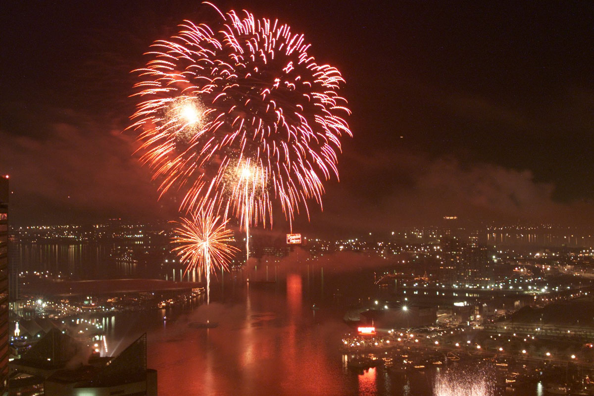 The Inner Harbor lights up with fireworks to celebrate the 2000 New Year. (John Makely / The Baltimore Sun)