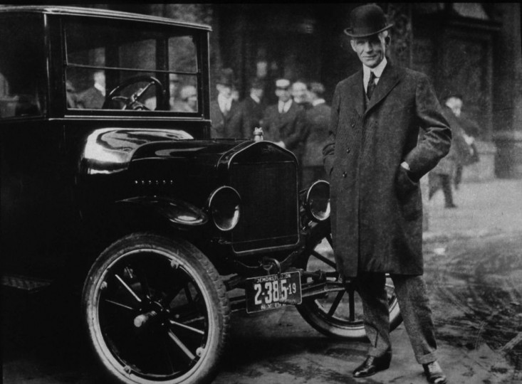 "Henry Ford, ""Father of the 20th century American car industry"" – This file photo shows Henry Ford pictured with a Model T in Buffalo, New York, in 1921. First introduced on October 1, 1908, the Ford Motor Company went on to produce close to one million Model T's in 1921 alone. (AFP Photo/HO)"