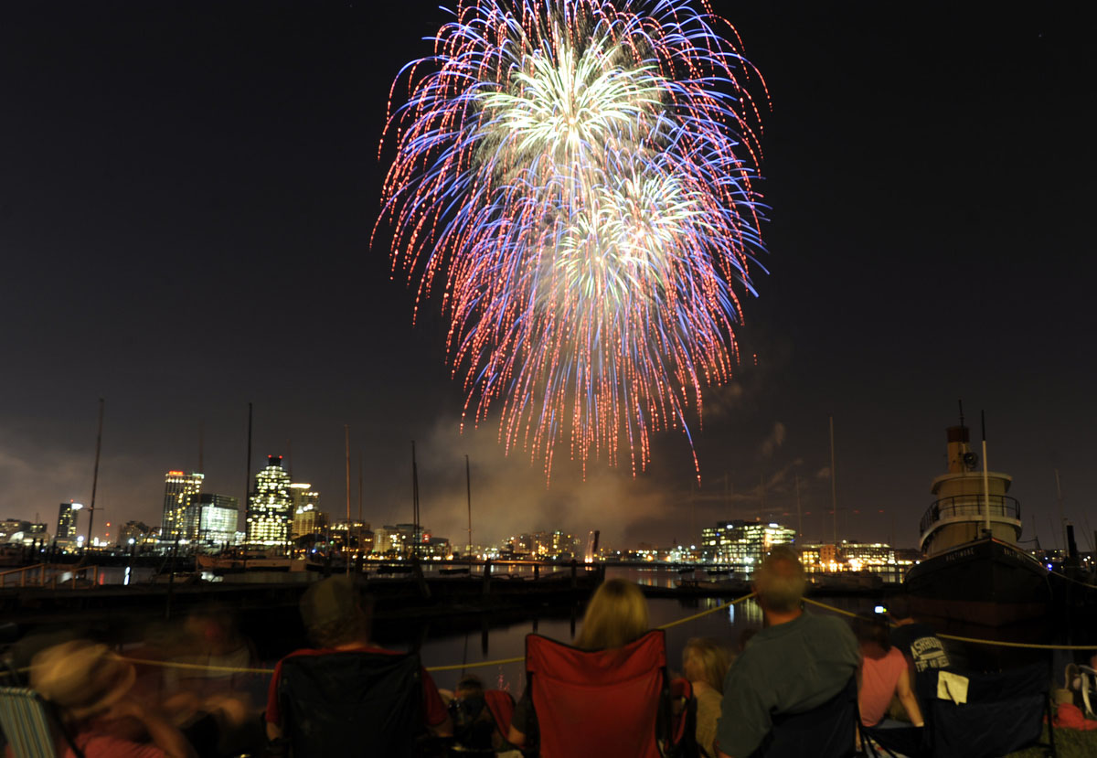 Spectators at the Baltimore Museum of Industry watch the 2010 4th of July fireworks explode over the Inner Harbor. Nikon D700, ISO 200, f5.6 at 8 seconds. (Barbara Haddock Taylor / The Baltimore Sun)