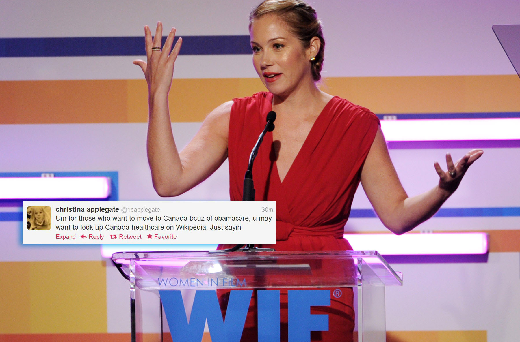 "Actress Christina Applegate -- @1capplegat: ""Um for those who want to move to Canada bcuz of obamacare, u may want to look up Canada healthcare on Wikipedia. Just sayin"" (Photo by Kevin Winter/Getty Images) ORG XMIT: 146264205"
