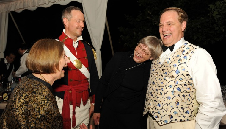 June 9, 2012: Romaine Somerville, Governor Martin O'Malley, Nita Schultz and Stiles Colwill mingle at the Maryland Historical Society's War of 1812 Bicentennial Gala. (Karen Jackson/Baltimore Sun)