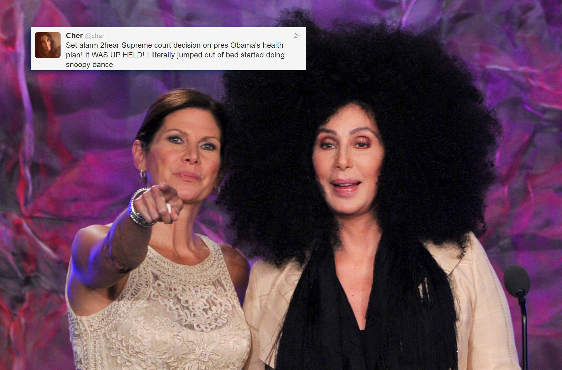 "Singer Cher -- @cher: ""Set alarm 2hear Supreme court decision on pres Obama's health plan! It WAS UP HELD! I literally jumped out of bed started doing snoopy dance"" (Kevin Winter/Getty Images for GLAAD, Rep. Mary Bono Mack also picutred)"