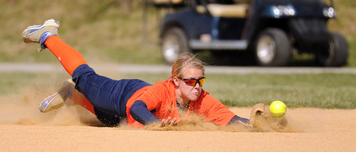Reservoir second baseman Amy Bresson dives for a ball on a hit by a Mount Hebron batter during a softball game at Reservoir High School in Fulton, Md., on Friday, April 13, 2012. (Brian Krista/Patuxent Homestead)