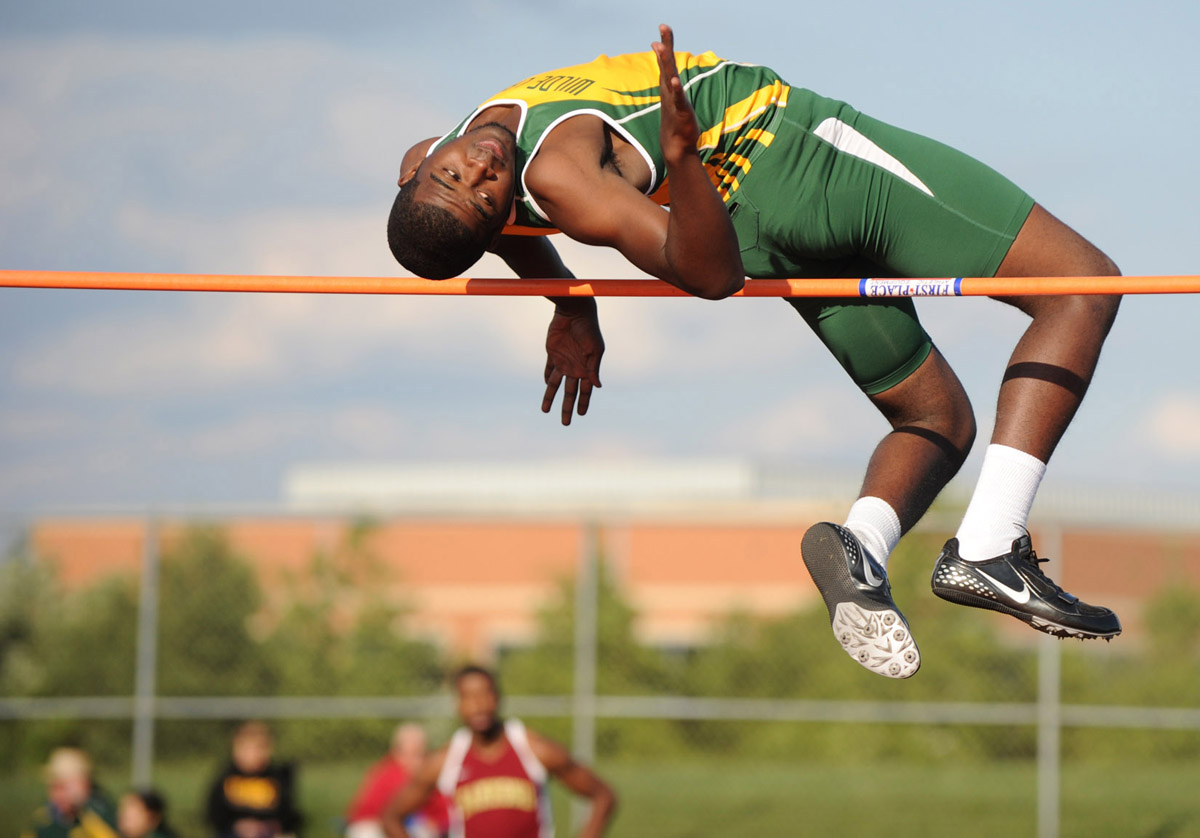 Shareif Parker of Wilde Lake makes an attempt in the high jump during the Howard County championship track meet at Reservoir High School in Fulton, Md., on Thursday, May 10, 2012. (Brian Krista/Patuxent Homestead)