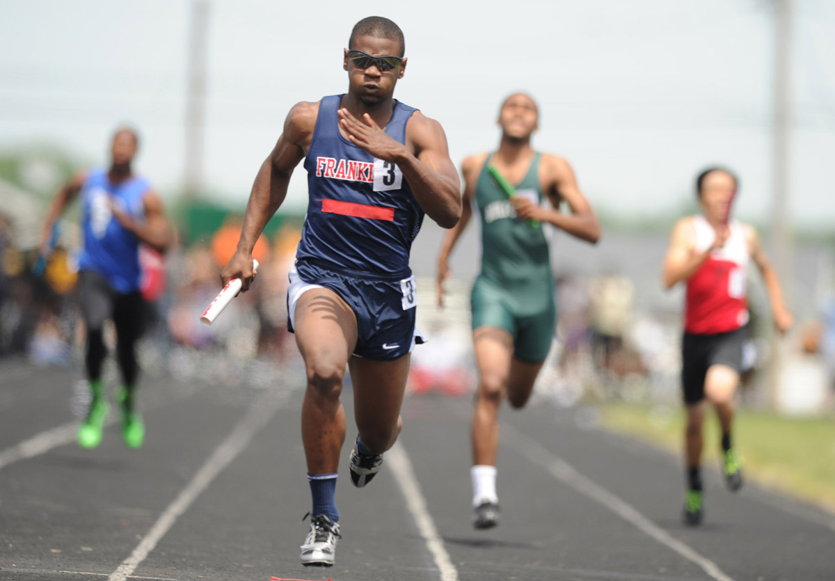 Dondre Randall of Franklin anchors their men's 4x200-meter relay team to victory during the Baltimore County Track and Field championships at Sparrows Point High School in Edgemere, Md., on Saturday, May 12, 2012. (Brian Krista/Patuxent Homestead)