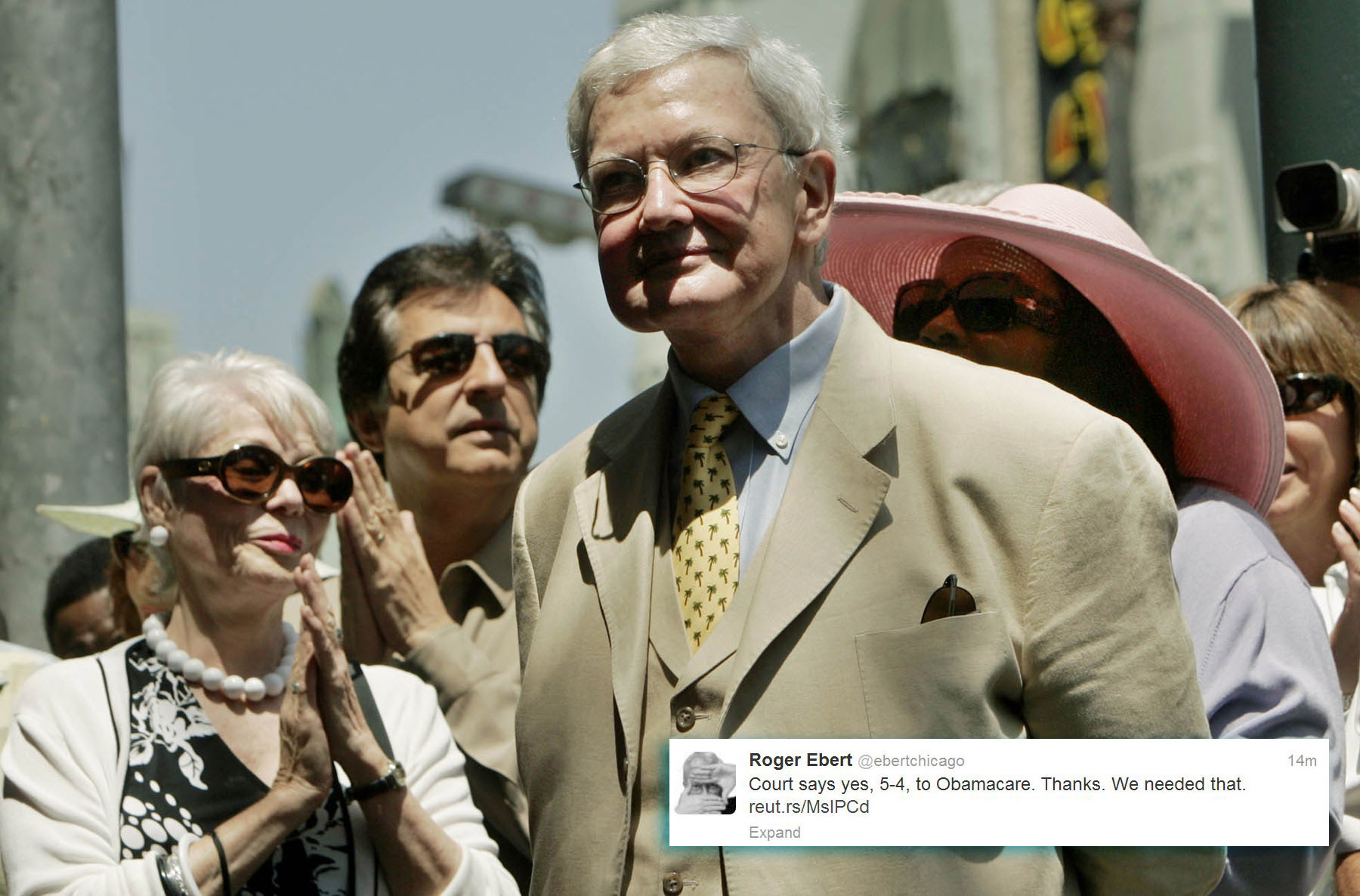 "Film critic Roger Ebert -- @ebertchicago: ""Court says yes, 5-4, to Obamacare. Thanks. We needed that."" (Ric Francis/AP Photo)"