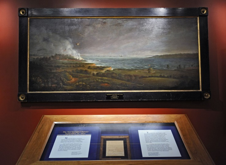 June 1, 2012: Maryland Historical Society mounts the largest display of War of 1812 related artifacts, including the Francis Scott Key's anthem manuscript, bottom, and the painting of the bombardment of Fort McHenry September 13-14, 1814 by Alfred J. Miller, top, to coincide with the launch of the city's War of 1812 bicentennial celebration. (Kenneth K. Lam/Baltimore Sun)