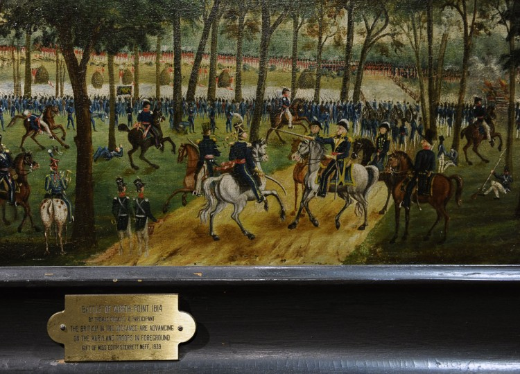 June 1, 2012: Pictured is a portion of a painting of the Battle of North Point 1814 by Maryland militiaman Thomas Ruckle. The Maryland Historical Society is mounting the largest display of War of 1812 related artifacts, including the Francis Scott Key's anthem manuscript, to coincide with the launch of the city's War of 1812 bicentennial celebration. (Kenneth K. Lam/Baltimore Sun)