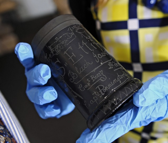 June 1, 2012: Pictured is the unique Etting Cup, ca. 1816, a signed tin reunion cup. The Maryland Historical Society mounts the largest display of War of 1812 related artifacts, including the Francis Scott Key's anthem manuscript, to coincide with the launch of the city's War of 1812 bicentennial celebration. (Kenneth K. Lam/Baltimore Sun)