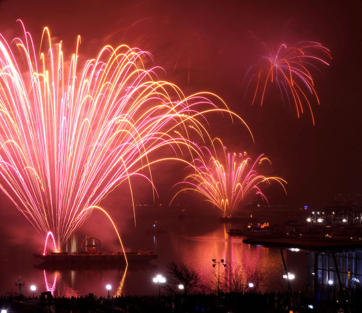 The New Years Eve Inner Harbor fireworks display rings in 2010. Photographed with a Nikon D3 at ISO 2000, f22, 5 second exposure.(Gene Sweeney Jr. / The Baltimore Sun)