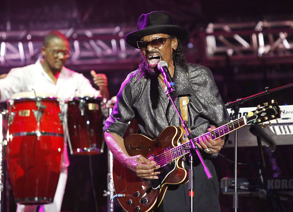 "Chuck Brown, ""Godfather of Go-Go"" – Pictured is guitarist Chuck Brown performing on the final day of the 20th St. Lucia Jazz Festival at Pigeon Island in May 2011. Brown, known as the ""Godfather of Go-Go,"" died on May 16, 2012 at the Johns Hopkins University hospital in Baltimore, according to published reports and confirmation from his manager Tom Goldfogle. (Andrea De Silva/Files/Reuters)"