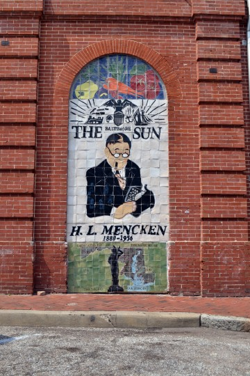 H.L. Mencken mural on the south face of the Hollins Market building. (Steve Earley/Baltimore Sun)