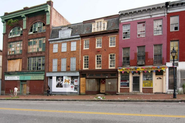 Businesses along Baltimore Street in West Baltimore. (Sue Izard/Sue Izard Photography)