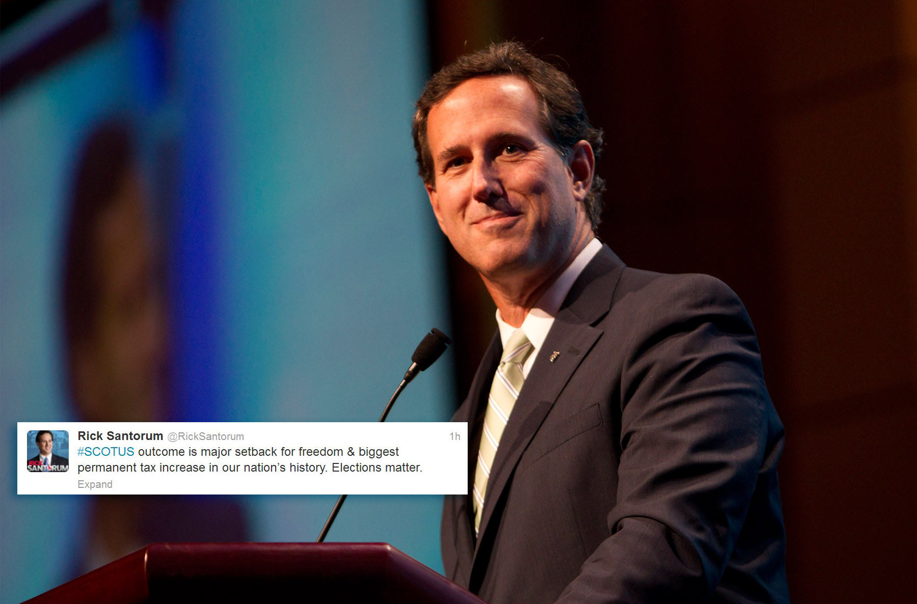 "Former GOP presidential hopeful Rick Santorum -- @RickSantorum: ""#Scotus outcome is major setback for freedom & biggest permanent tax increase in our nation's history. Election matters."" (Joyce Marshall/Fort Worth Star-Telegram/MCT)"