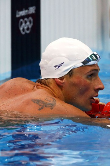Ryan Lochte of the United States looks on after competing in the Men's 200m Freestyle heat 5 on Day 2 of the London 2012 Olympic Games at the Aquatics Centre on July 29, 2012 in London, England. (Al Bello/Getty Images)