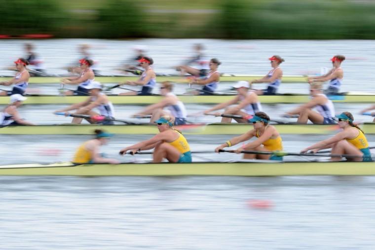 Hannah Vermeersch, Renee Chatterton, Robyn Selby Smith, Sarah Cook, Tess Gerrand, Alexandra Hagan, Sally Kehoe, Phoebe Stanley, and Elizabeth Patrick of Australia compete in Heat 1 of the Women's Eight on Day 2 of the London 2012 Olympic Games at Eton Dorney on July 29, 2012 in Windsor, England. (Harry How/Getty Images)