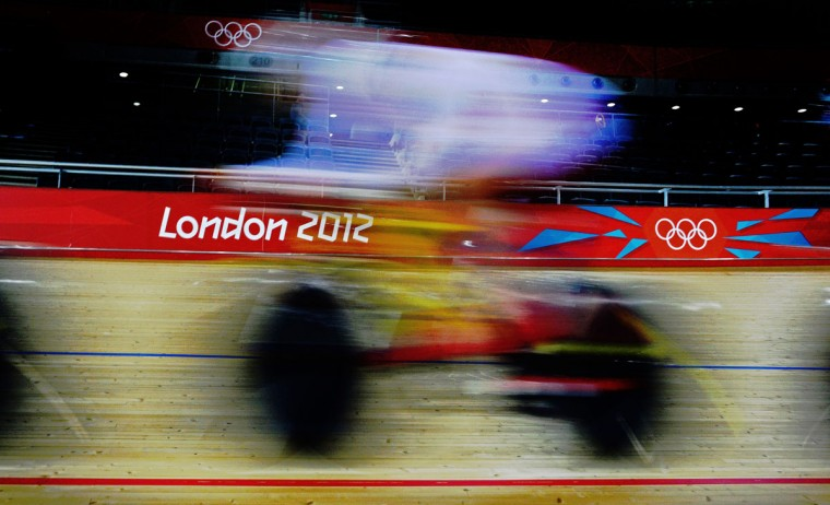 A Chinese track cyclists is pictured during a training session at the Velodrome venue in the Olympic Park in London on July 30, 2012. (Carl de Souza/AFP/Getty Images)