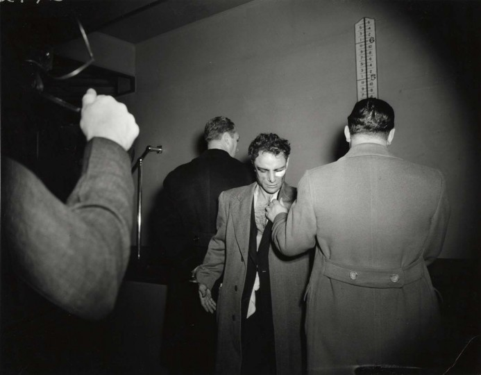 Anthony Esposito, booked on suspicion of killing a policeman, New York, ca. January 16, 1941. Taken by Weegee. (Courtesy: International Center of Photography)