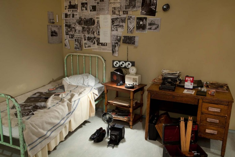 Recreation of Weegee's room. (John Berens/International Center of Photography)