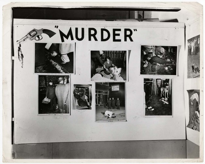 "Installation view of ""Weegee: Murder Is My Business,"" at the Photo League, New York, 1941. (Courtesy: International Center of Photography)"