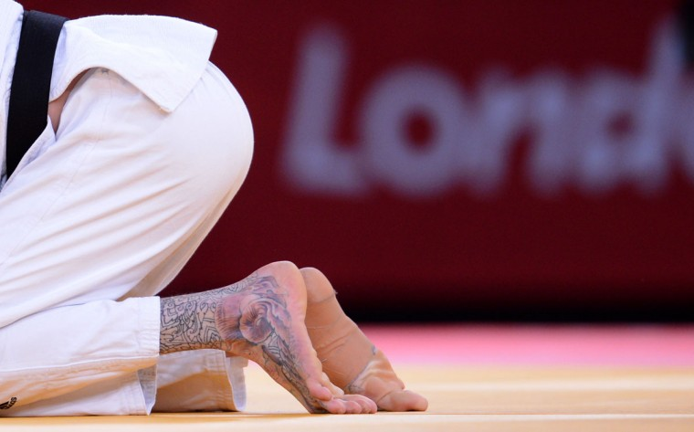 Britain's Daniel Williams reacts after losing during the men's -73kg judo contest of the London 2012 Olympic Games on July 30, 2012 at the ExCel arena in London. (Franck Fife/AFP/Getty Images)