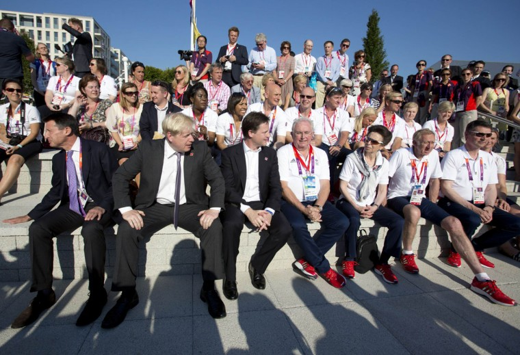 A crowd of VIP's including Lord Coe, Mayor Boris Johnson, Deputy Prime Minister Nick Clegg, Princess Anne and Dame Kelly Holmes attend a Welcoming Ceremony for Team GB in the Olympic Village in London July 24, 2012. (Neil Hall/Reuters)