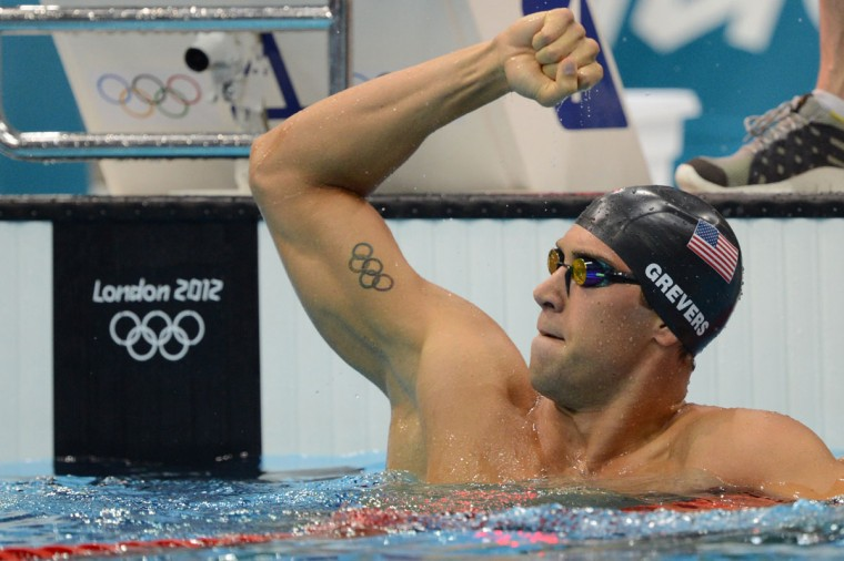 US swimmer Matthew Grevers celebrates winning the men's 100m backstroke final swimming event at the London 2012 Olympic Games on July 30, 2012 in London. (Christophe Simon/AFP/Getty Images)