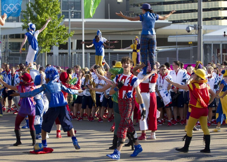 Performers during a Welcoming Ceremony for Team GB in the Olympic Village in London July 24, 2012. (Neil Hall/Reuters)