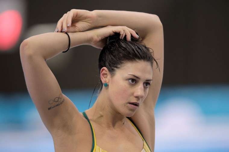 Stephanie Rice of Australia stretches during a training session ahead of the London Olympic Games at the Aquatics Centre in Olympic Park on July 23, 2012 in London, England. (Adam Pretty/Getty Images)