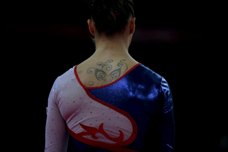Marta Pihan-Kulesza of Poland attends a gymnastics training session at the O2 Arena before the start of the London 2012 Olympic Games July 26, 2012. (Brian Snyder/Reuters)