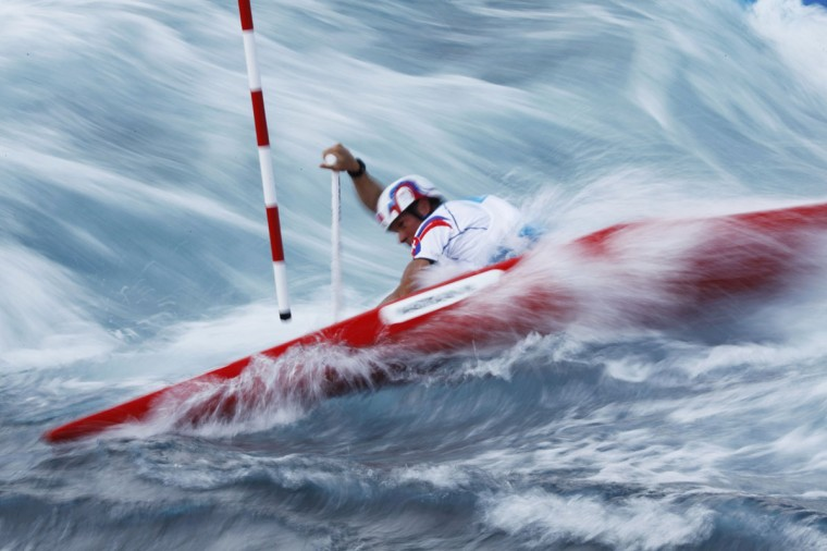 Slovakia's Michal Martikan competes in the men's canoe single (C1) heat at Lee Valley White Water Centre at the London 2012 Olympic Games July 29, 2012. (Lucy Nicholson/Reuters)