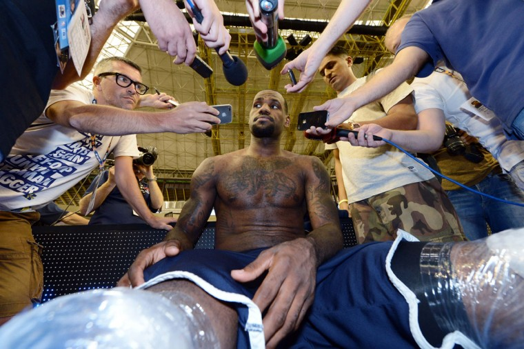 USA forward LeBron James (6) is interviewed after practice in preparation for the 2012 London Olympic Games at Palau Sant Jordi on July 23, 2012. (Bob Donnan/US Presswire)