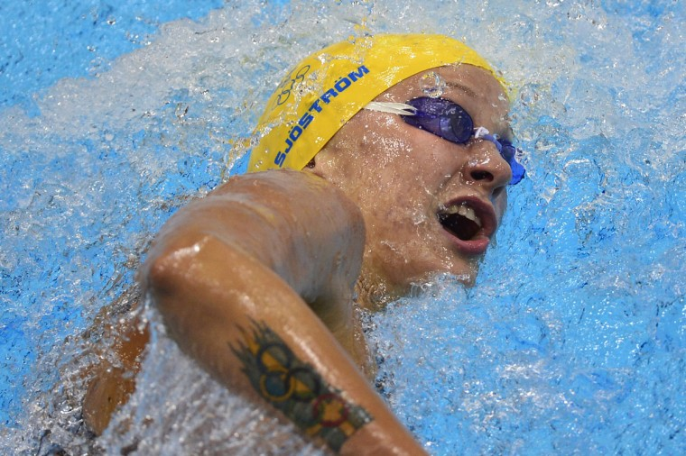 Sweden's Sarah Sjostrom competes in the women's 200m freestyle heats swimming event at the London 2012 Olympic Games at the Olympic Park in London on July 30, 2012. (Fabrice Coffrini/AFP/Getty Images)