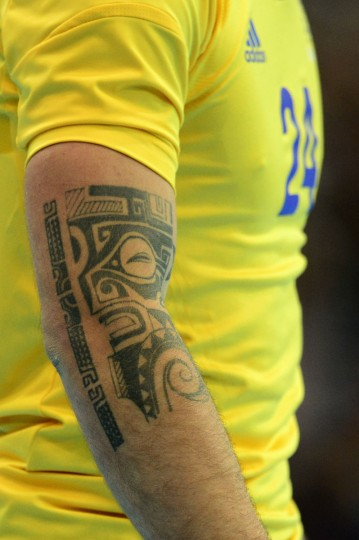 A tattoo on the right arm of Sweden's leftwing Fredrik Petersen is seen during the men's preliminaries Group A handball match Great Britain vs Sweden for the London 2012 Olympics Games on July 31, 2012 at the Copper Box hall in London. (Javier Soriano/AFP/Getty Images)