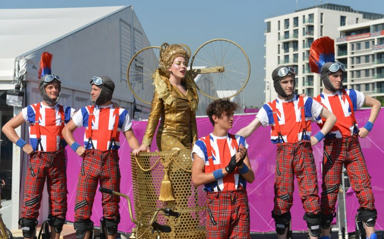 Dancers perform during a Welcoming Ceremony for athletes at the Olympic Village in London on July 25, 2012, two days before the start of the London 2012 Olympic Games. (Adek Berry/AFP/Getty Images)