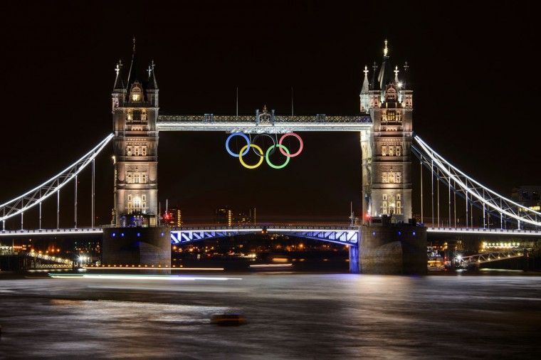 Tower Bridge adorned with the Olympic Rings is seen on late July 25, 2012 two days before the start of the London 2012 Olympic Games. (Fabrice Coffrini/AFP/Getty Images)