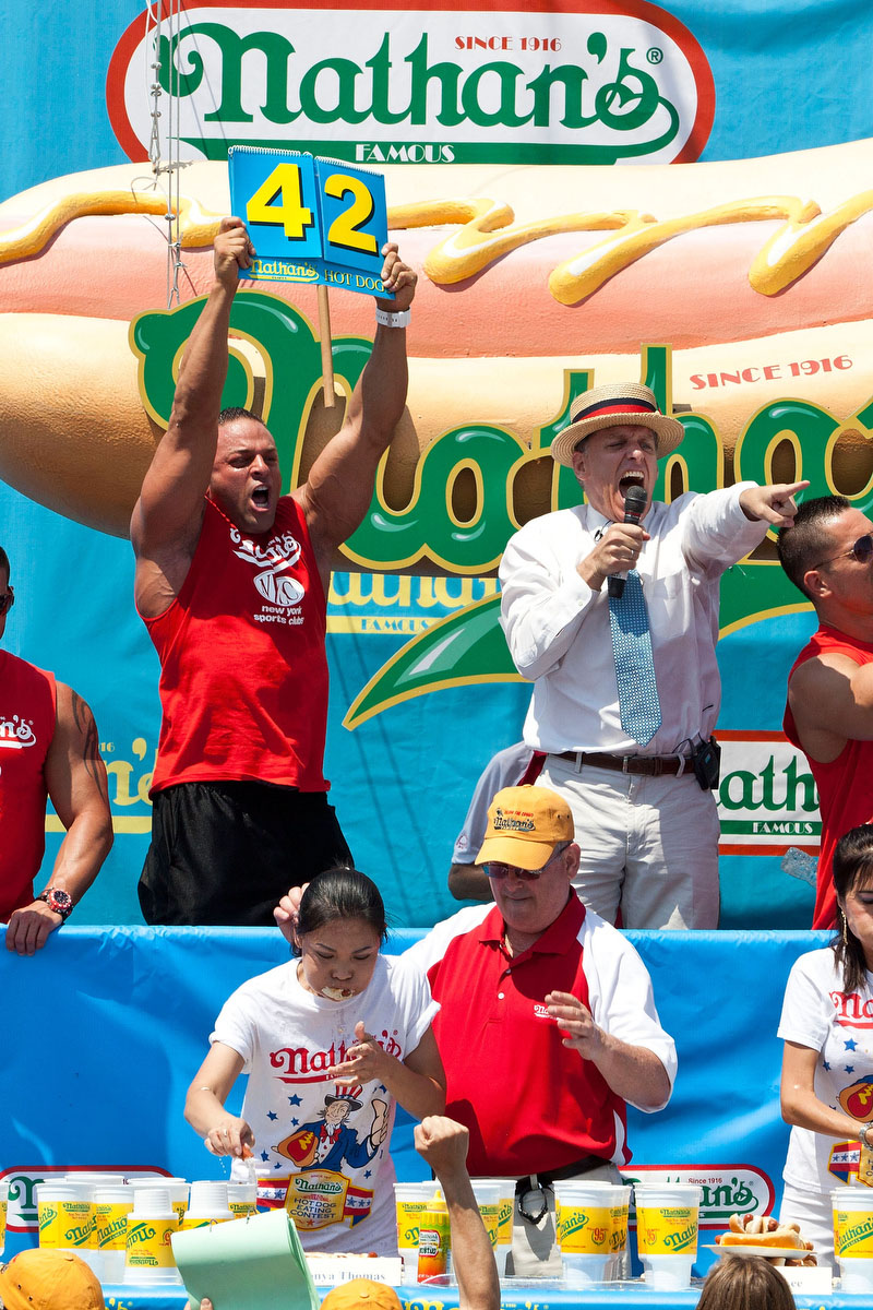 Competitive eater Sonya Thomas passes her previous women's world record of 40 hot dogs while competing in the Nathan's Famous International Hot Dog Eating Contest at Coney Island in the Brooklyn borough of New York City. (Andrew Burton/Getty Images)