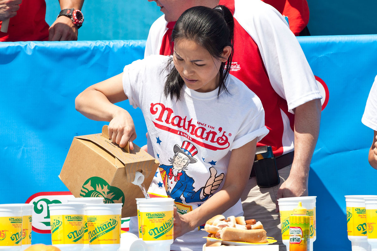 Competitive eater Sonya Thomas prepares to compete in the Nathan's Famous International Hot Dog Eating Contest at Coney Island in the Brooklyn borough of New York City. (Andrew Burton/Getty Images)