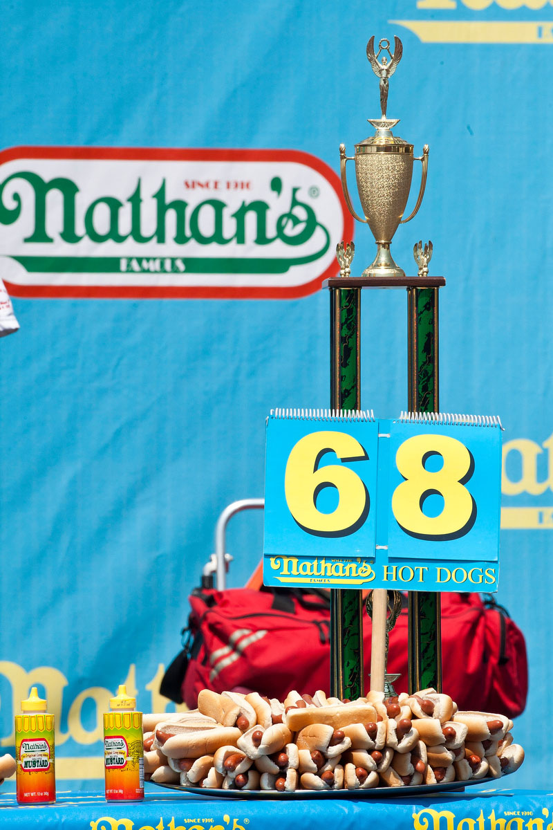 68 hot dogs, the world record for the most hot dogs eaten in 10 minutes, are set on display before the Nathan's Famous International Hot Dog Eating Contest at Coney Island. Joey Chestnut won the men's division by successfully tying his own record of 68 hot dogs eaten in 10 minutes. (Andrew Burton/Getty Images)