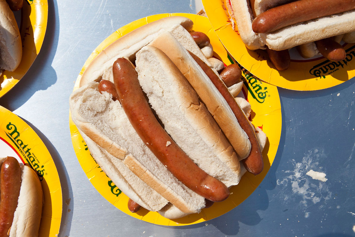 A plate of Nathan's hot dogs are seen prior to the Nathan's Famous International Hot Dog Eating Contest at Coney Island. (Andrew Burton/Getty Images)