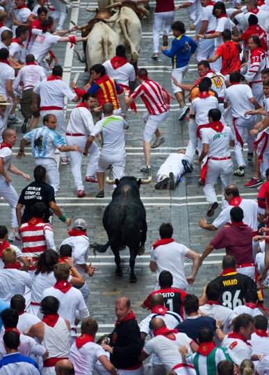 Revelers run beside a Cebada Gago ranch fighting bull along Estafeta street on the third day of the San Fermin running-of-the-bulls in Pamplona, Spain. (Jasper Juinen/Getty Images)