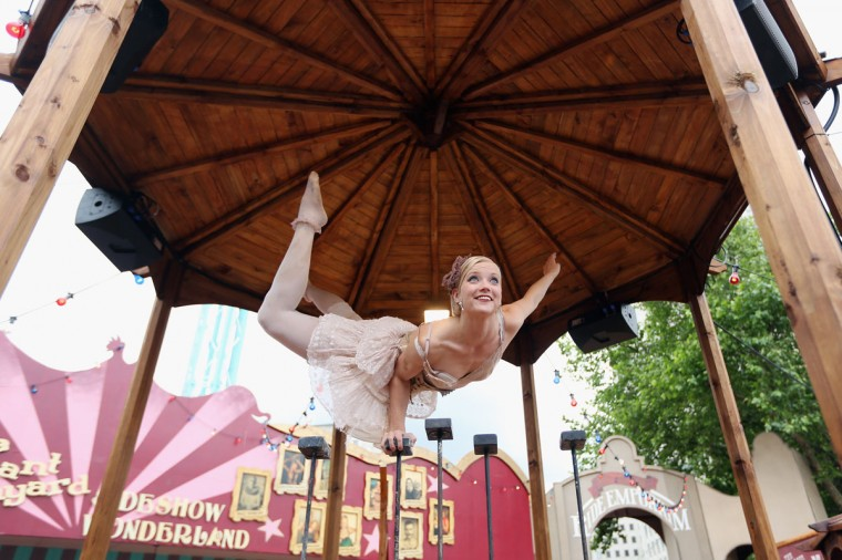 Henna Kaikula practices her routine at the Priceless London Wonderground at the Southbank Centre on July 19, 2012 in London, England. (Oli Scarff/Getty Images)