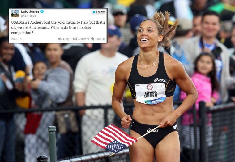 Lolo Jones: The Olympians' contributions to Twitter aren't all rants and scandal, the U.S. track and field star -- who made headlines earlier this year by revealing she is still a virgin -- uses her twitter account to show off her sharp sense of humor. (Christian Petersen/Getty Images)