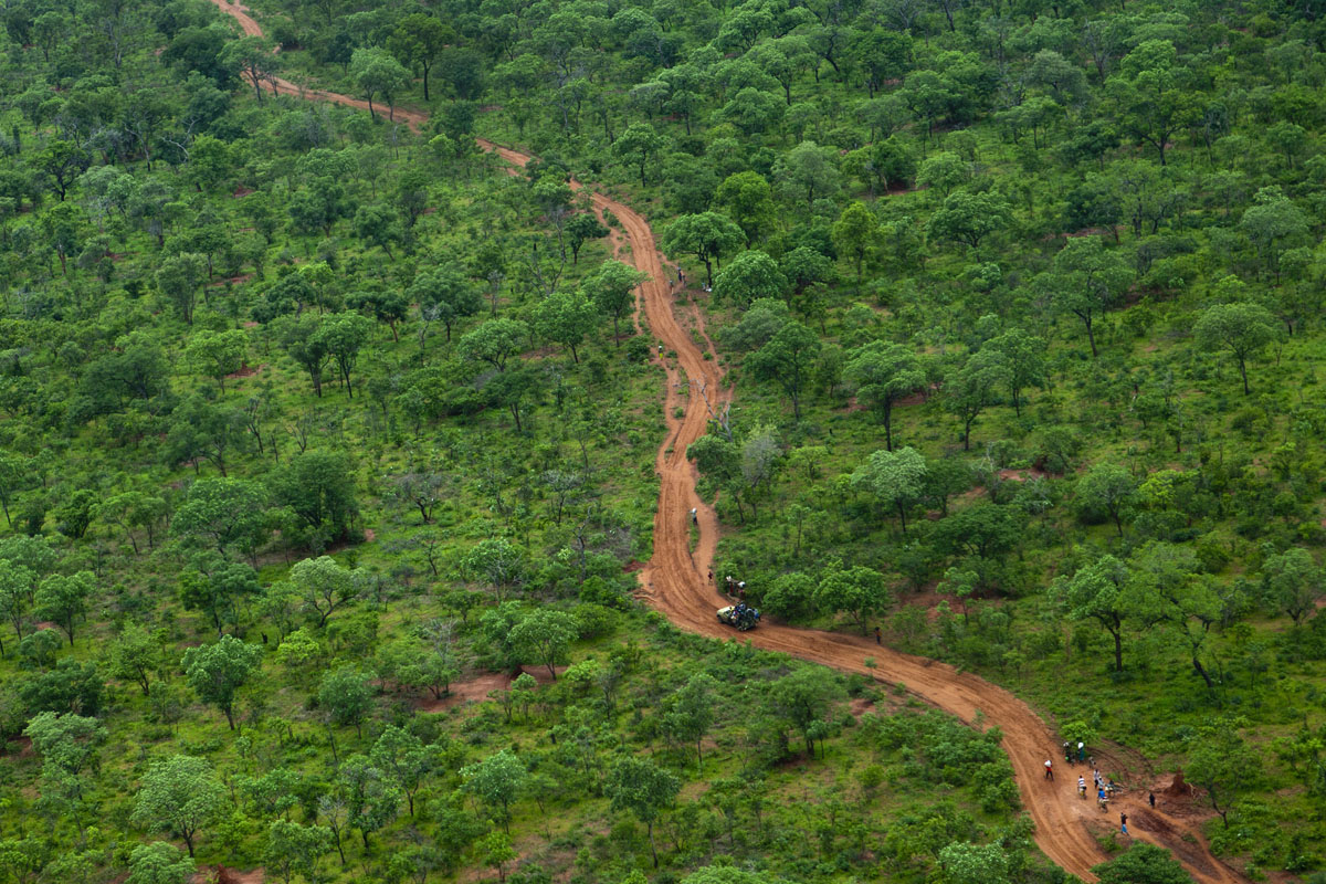 JUNE 29: A dirt road leads to the border from this aerial photo near Yida refugee camp along the border with North Sudan June 29, 2012 in Yida, South Sudan. Yida refugee camp has swollen to nearly 60,000, as the refugees flee from South Kordofan in North Sudan. The international aid community is struggling to provide basic assistance to the growing population, most have arrived with only the clothes they are wearing. Many new arrivals walked from 5 days up to 2 weeks or more to reach the camp. (Paula Bronstein/Getty Images)