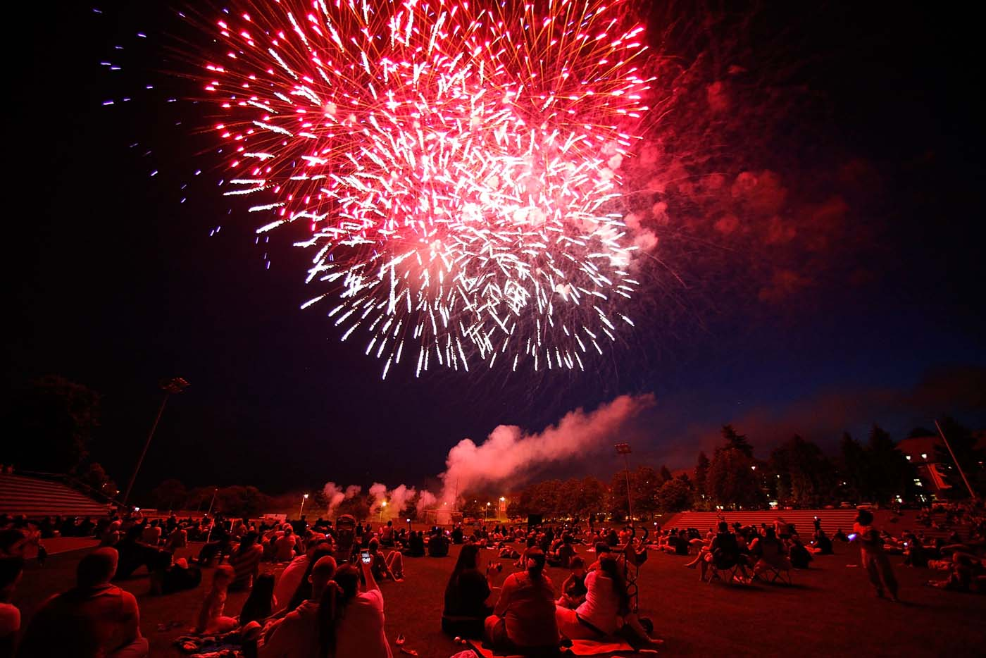 BAUMHOLDER, GERMANY - JULY 04: U.S. soldiers and their families watch fireworks during the 4th of July festivities at the Baumholder U.S. military base. (Ralph Orlowski/Getty Images)