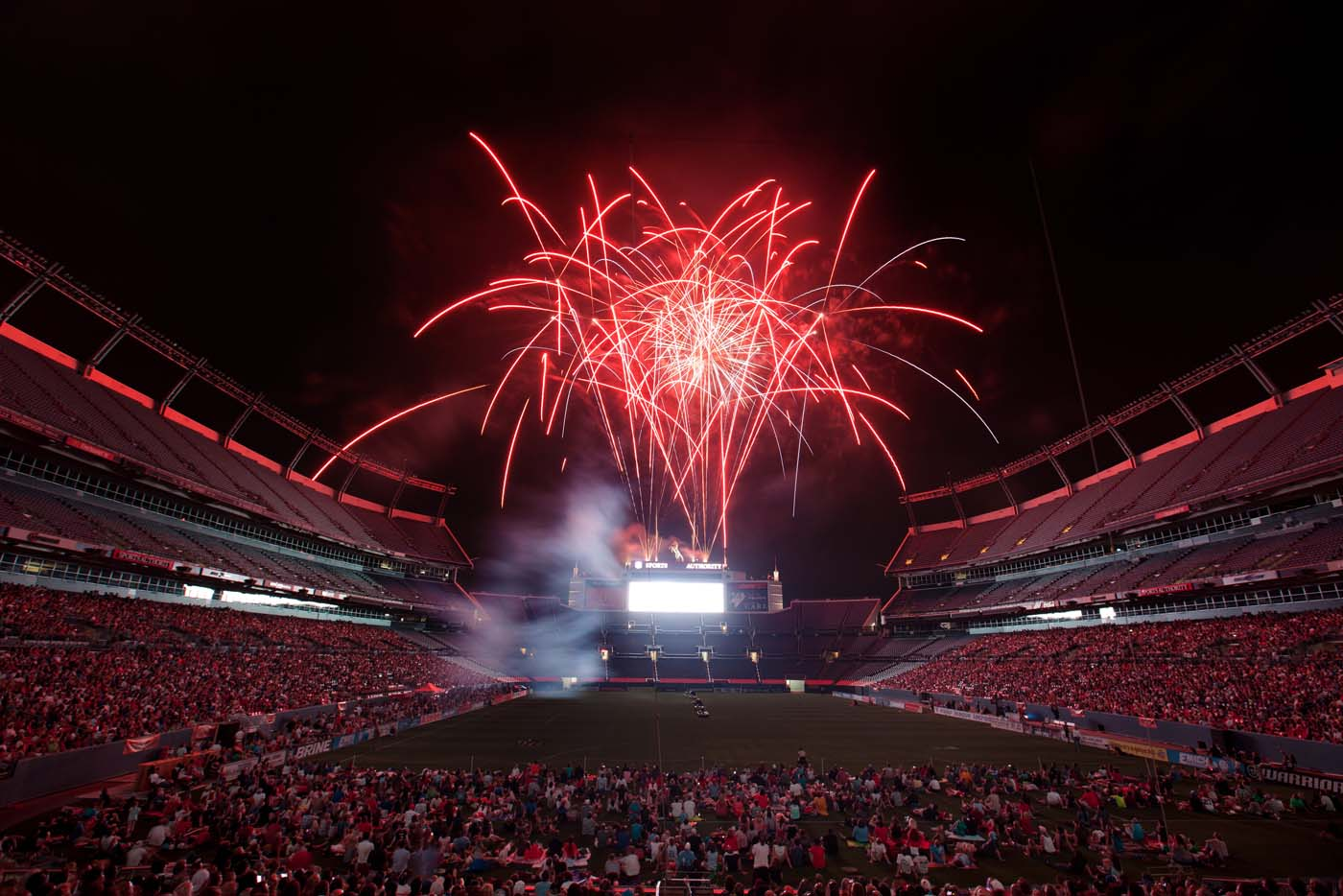 DENVER, CO - JULY 4: Fans are treated to a fireworks display after a Major League Lacrosse game between the Ohio Machine and Denver Outlaws at Sports Authority Field at Mile High. (Justin Edmonds/Getty Images)