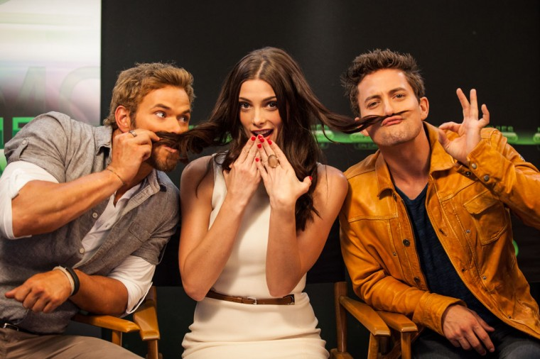 Actors Kellan Lutz, Ashley Greene and Jackson Rathbone attend the Movies On Demand lounge at Comic Con at Hard Rock Hotel San Diego on July 12, 2012 in San Diego, California. (Chelsea Lauren/Getty Images for Movies on Demand)