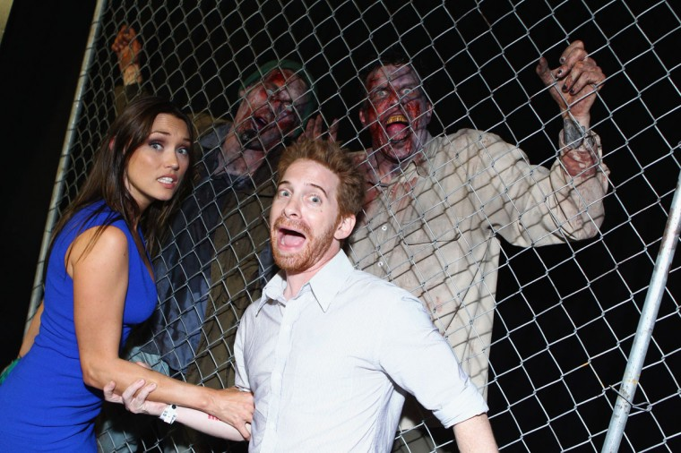 "Actors Clare Grant (L) and Seth Green attend ""The Walking Dead"" 100th Issue Black-Carpet event powered by Hyundai and Future US at PETCO Park on July 13, 2012 in San Diego, California. (Alexandra Wyman/Getty Images for Hyundai)"